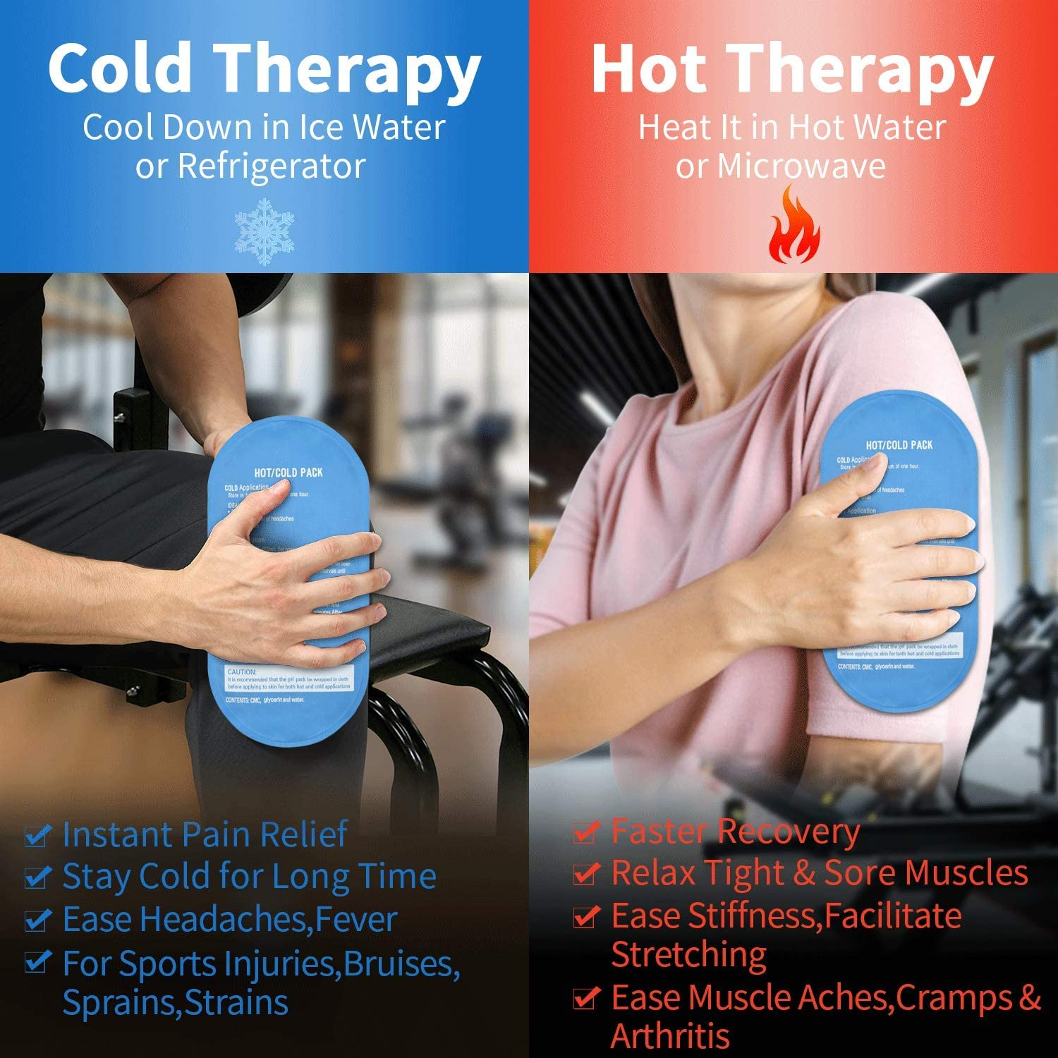 Gel Ice Pack, 2-Pack Reusable Cold & Hot Pack, Flexible Comfortable Cold Compress for Injuries Pain Relief Swelling Muscle Soreness Recovery Sprains, Rapid Hot & Cold Therapy Soft Touch Cold Pack: Health & Personal Care