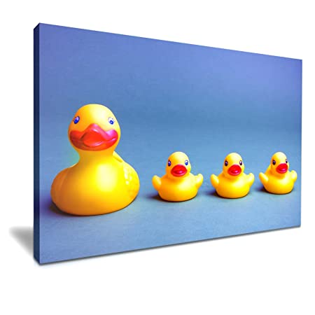 Yellow Bath Rubber Duck Canvas Wall Art Picture Print 76x50cm ...