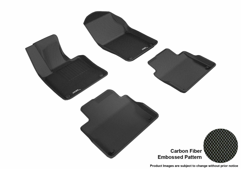 3D MAXpider Complete Set Custom Fit All-Weather Floor Mat for Select Volvo S90// V90 Models Kagu Rubber Black