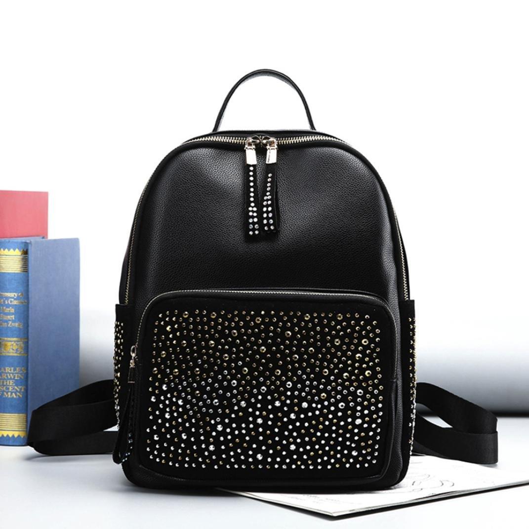 9258aa41d28 ... Bag (Black). 85%OFF AMA(TM) Women Girl Leather Backpack Rivet  Decoration Travel Rucksack School