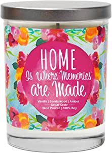 Home is Where Memories are Made | Vanilla, Sandalwood, Amber | Scented Soy Candles |10 Oz. Candle | Poured in USA | Decorative Aromatherapy | Housewarming Gifts for New Home | New Home Gift Ideas