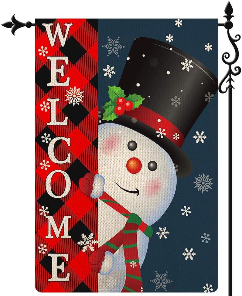 Coskaka Welcome Merry Christmas Garden Flag,Xmas Cute Snowman Snowflake Flag Vertical Double Sided Rustic Farmland Buffalo Check Plaid Burlap Yard Lawn Outdoor Decor 12.5x18 Inch