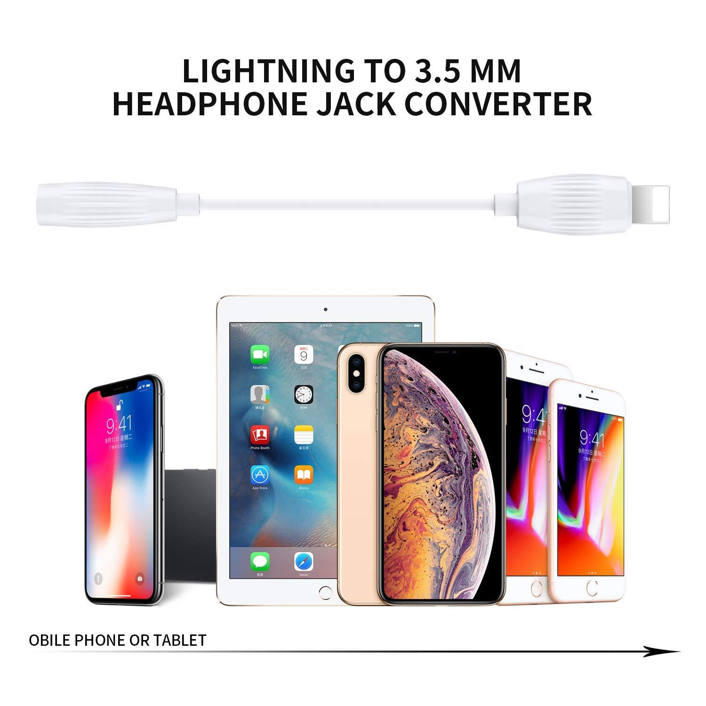 Adaptador de Jack a Adaptador de Jack de Adaptador de 3,5 mm para iPhone 8 Cable dongle y Audio para iPhone 7//7P//8//8P//XR//X//XS Adapter Conector de Auriculares Adecuado para Todos los iOS Blanco