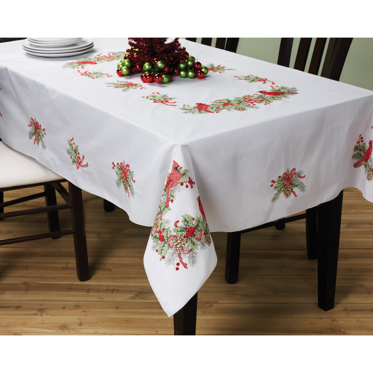 Cardinal birds cross stitch table cloth