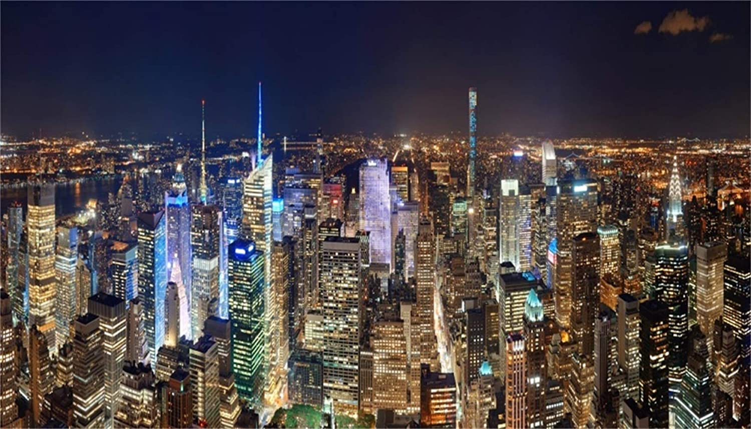 GoEoo 12x6.5ft Beautiful New York City Nightscape Backdrop Vinyl Overpass Across The Still Lake Metropolis Skyscrapers Reflect On The Water Background Event Activities Shoot Landscape Wallpaper