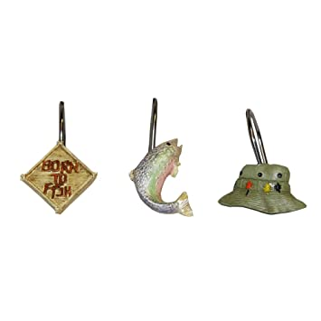 Amazon Bacova Guild Born to Fish Shower Curtain Hooks Home