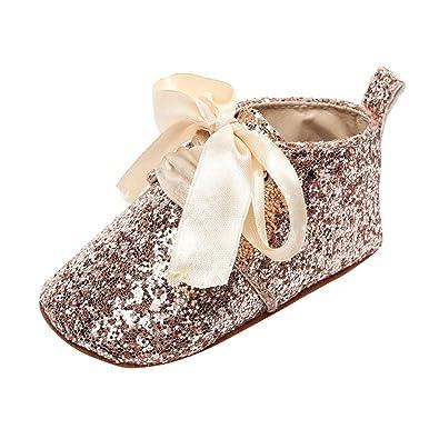 1754bc91a5f90 Bonjouree Chaussures Bebe Fille Chaussures Souples Premiers Pas de  Paillettes Bow en Cuir Artificiel pour Bebe