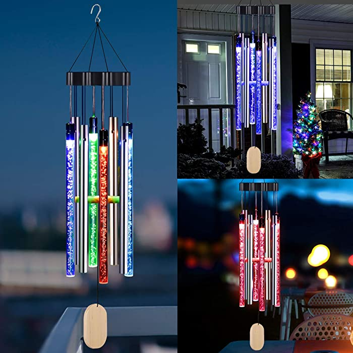 Kearui Solar Wind Chimes Light Outdoor, Memorial Wind Chimes with Colorful Light, Christmas/Housewarming Gift, Garden, Yard, Home Decor