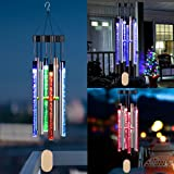 Kearui Solar Wind Chimes Light Outdoor, Memorial Wind Chimes with Colorful Light, Christmas/Housewarming Gift, Garden, Yard,