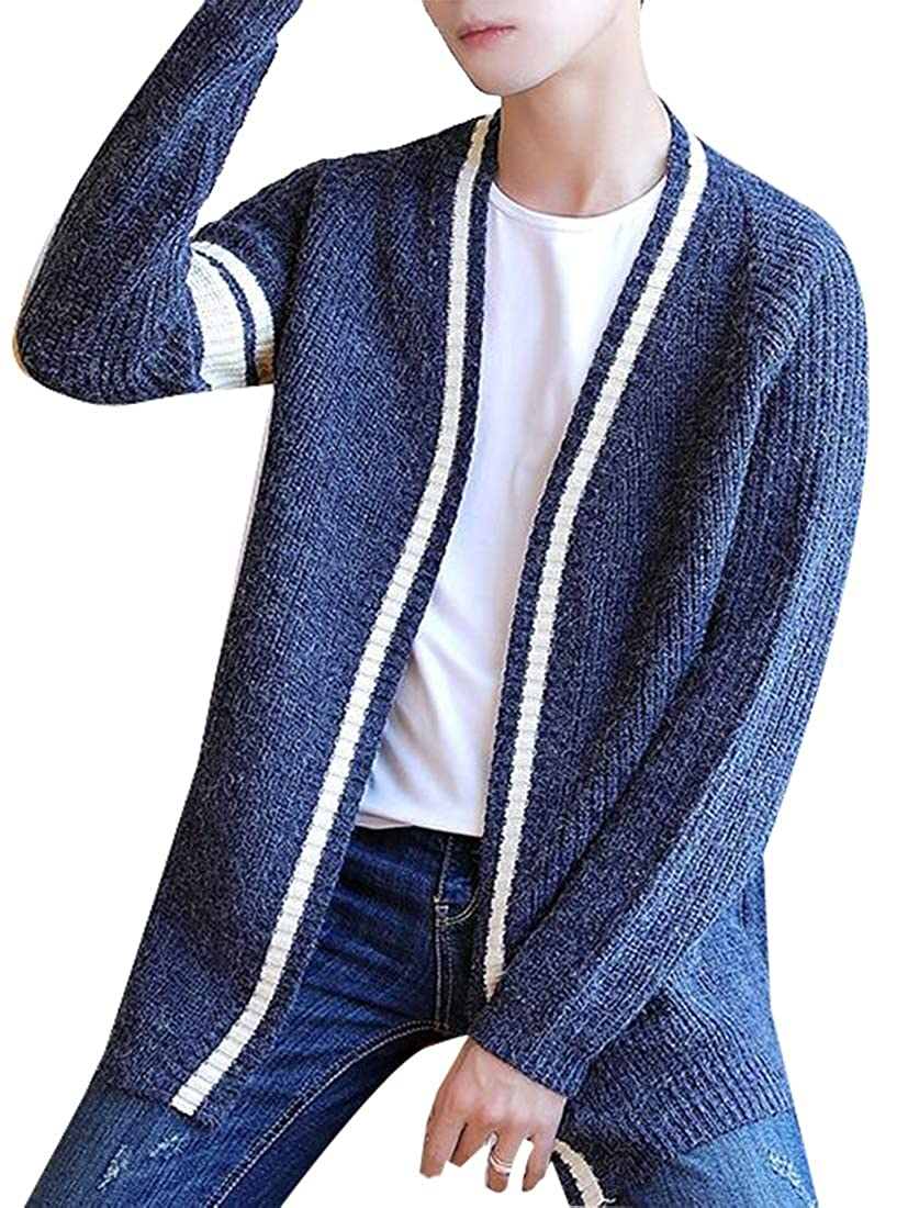Beloved Mens Open Front Shawl Collar Cardigan Sweaters Cable Knit Ribbed Long Sleeve Sweater