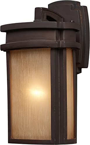 Elk Lighting 42140 1 Sedona – One Light Outdoor Wall Sconce, Clay Bronze Finish with Caramel Beige Glass