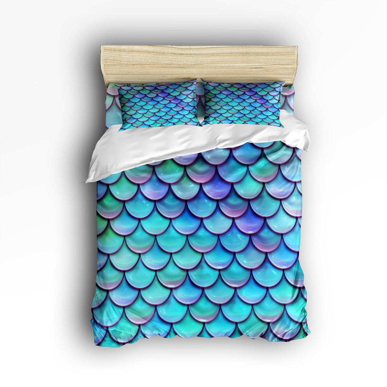 Queen Size Bedding Set- Fish Scales Purple Blue Duvet Cover Set Bedspread for Childrens/Kids/Teens/Adults, 4 Piece 100 % Cotton