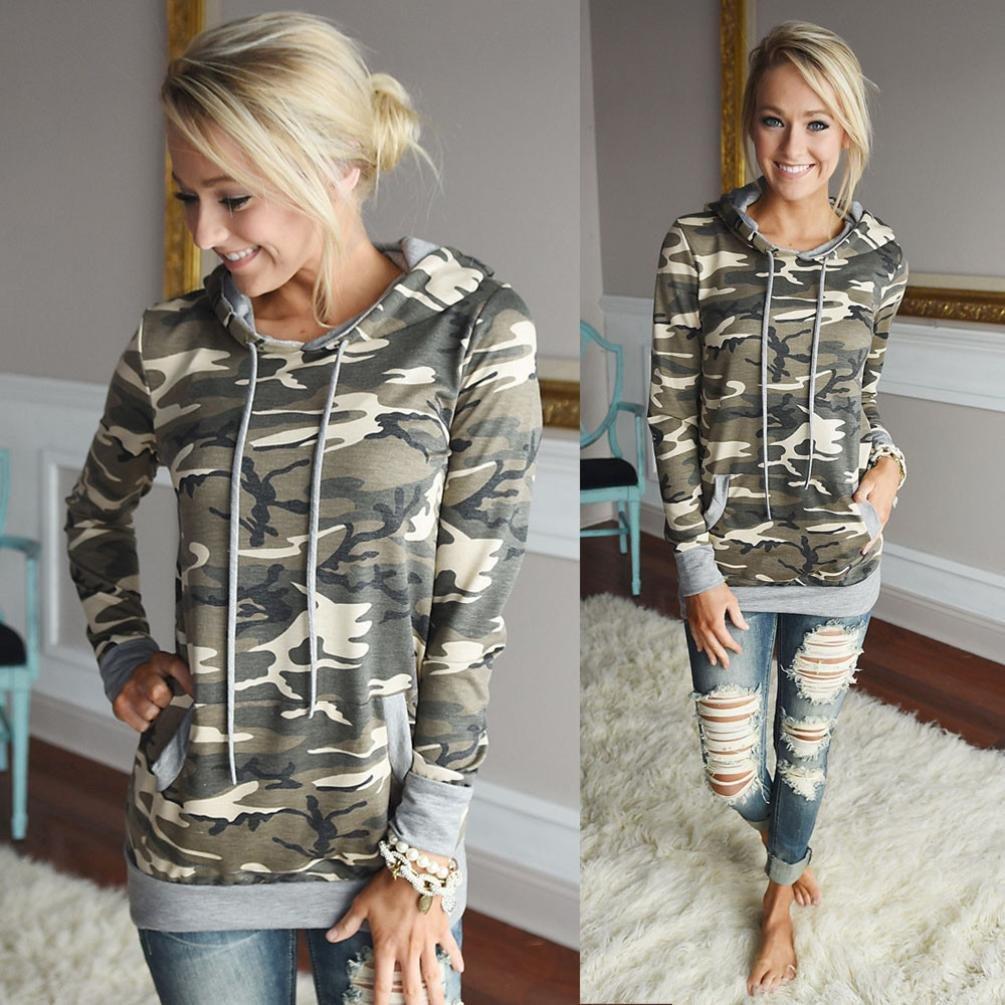 OverDose Donna Felpe con Cappuccio Camouflage Magliette Maglie Camicetta T-Shirt
