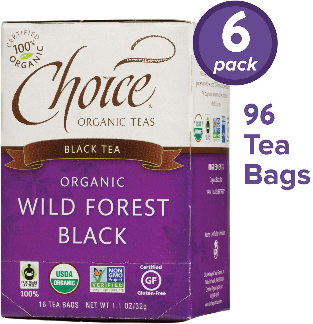 Choice Organic Teas Black Tea, 6 Boxes of 16 (96 Tea Bags), Wild Forest Black