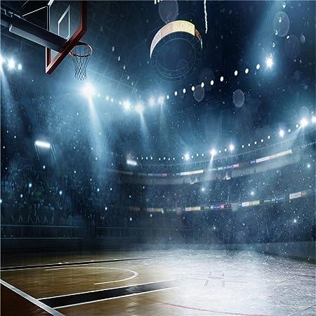 AOFOTO 10x10ft Basketball Court Background Basketball Arena Spotlight Photography Backdrop Sport Spectator Seats Athletic Player Stadium Match Team Game Photo Studio Props Boy Girl Portrait Wallpaper