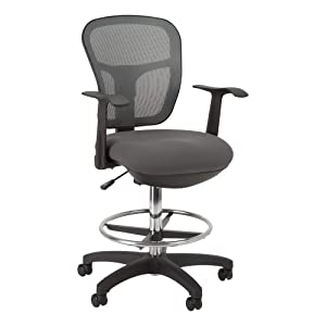 Norwood Commercial Furniture Adjustable-Height Office Mesh Drafting Chair with Chrome Footrest Ring & Optional Arms