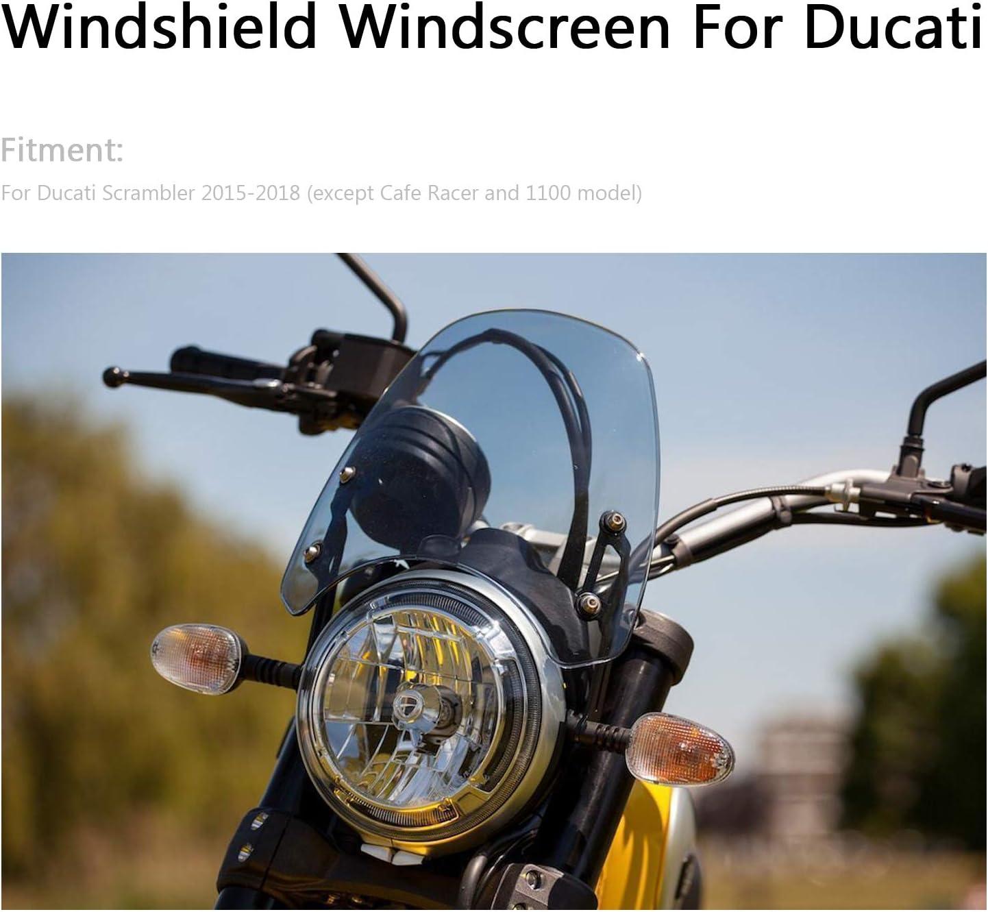 Sport Windschutzscheibe mit ABS Aerodynamik Design f/ür Du-ca-ti Scrambler 2015-2018 Topteng Motorrad Windschutzscheibe