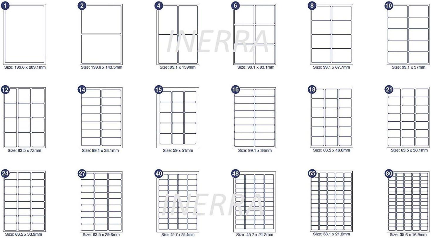 50 Sheets - 99.1 x 38.1mm Stickers 14 Per A4 Sheet - INERRA Self Adhesive Blank Labels Quantity Options Address