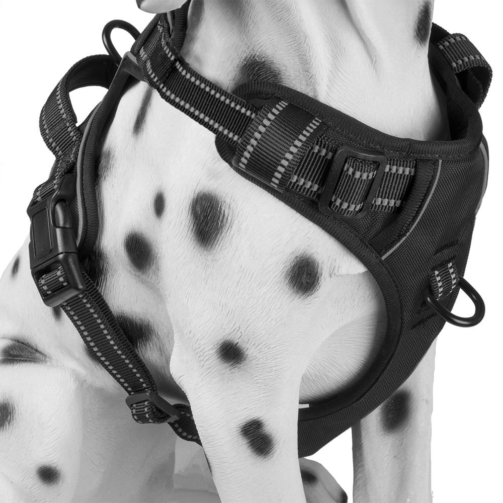 PoyPet No Pull Dog Harness, Reflective Vest Harness with 2 Leash Attachments and Easy Control Handle for Small Medium…