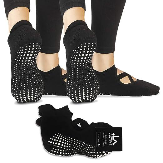 LA Active Grip Socks - 2 Pairs - Yoga Pilates Barre Non Slip Ballet Straps (Noire Black and Noire Black)