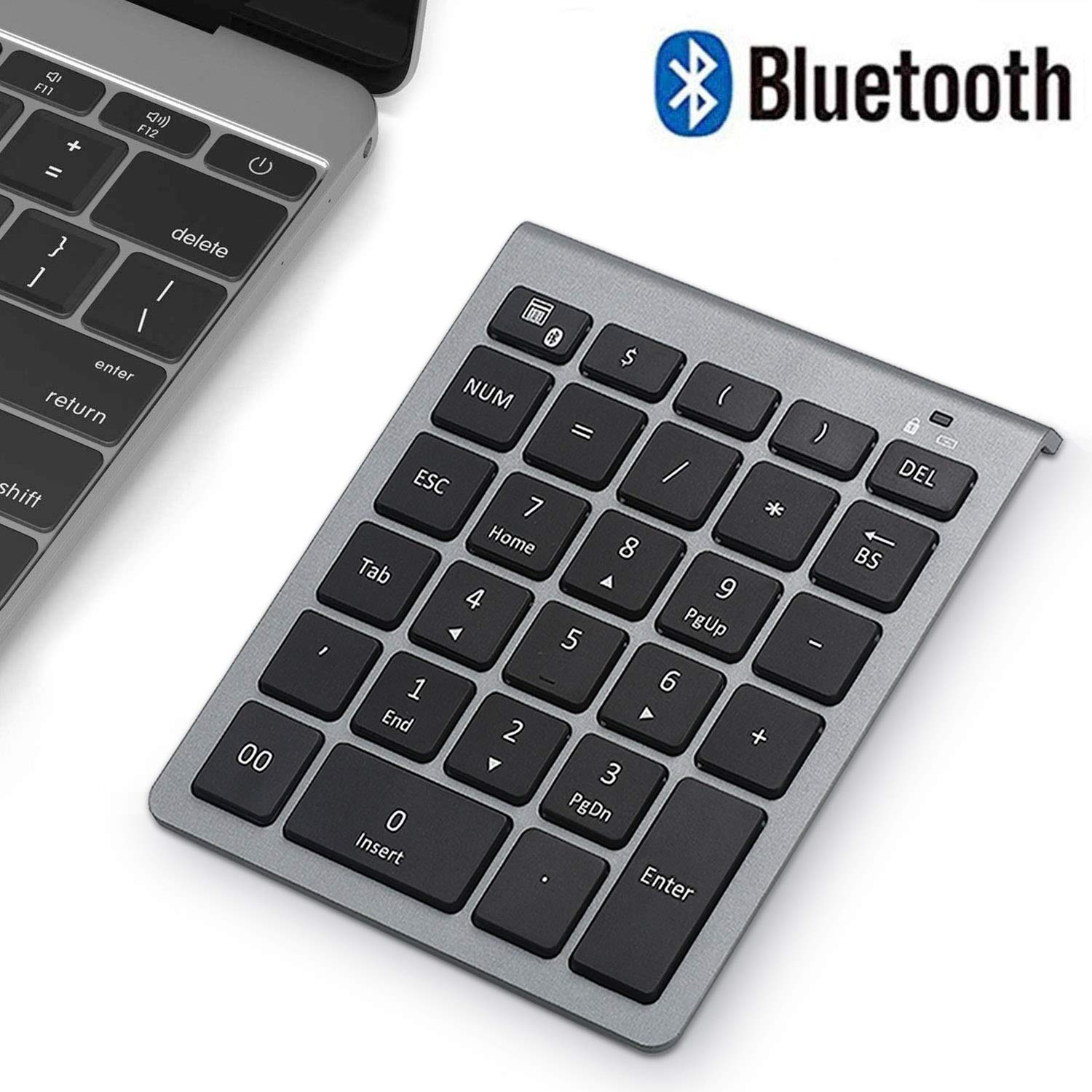 Bluetooth Numeric Keypad, Wireless Number Pad, Acedada Slim Portable 28-Keys : Financial Accounting Data Entry External Numpad 10 Key for Laptop, Tablets, Surface Pro, Windows, Android, etc - Grey by Acedada