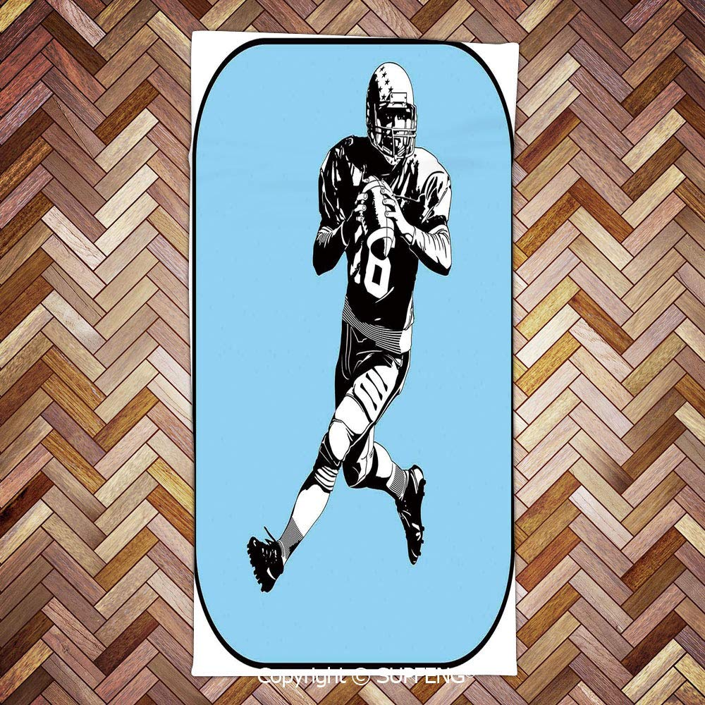 face Towel American Football League Game Rugby Player Run Original Retro Illustration/3d Printing/Water Absorption/Multipurpose