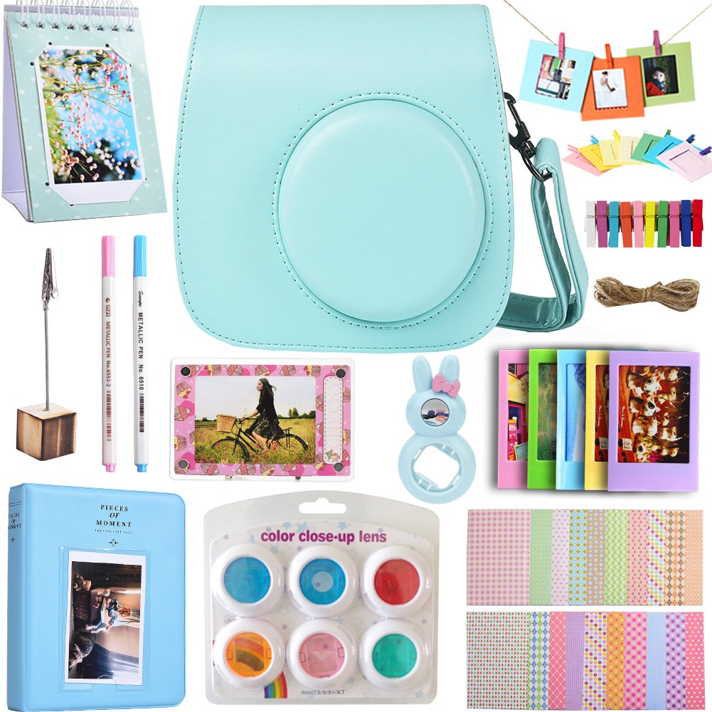 SAIKA Novel Fujifilm Instax Mini 9 Film Camera Accessories Bundle with Case, Acrylic Magnet Frame, Filter& & Other Accessories, also Fit for Fujifilm polaroid instax mini 8 8+ - Ice Blue(12 Pieces)