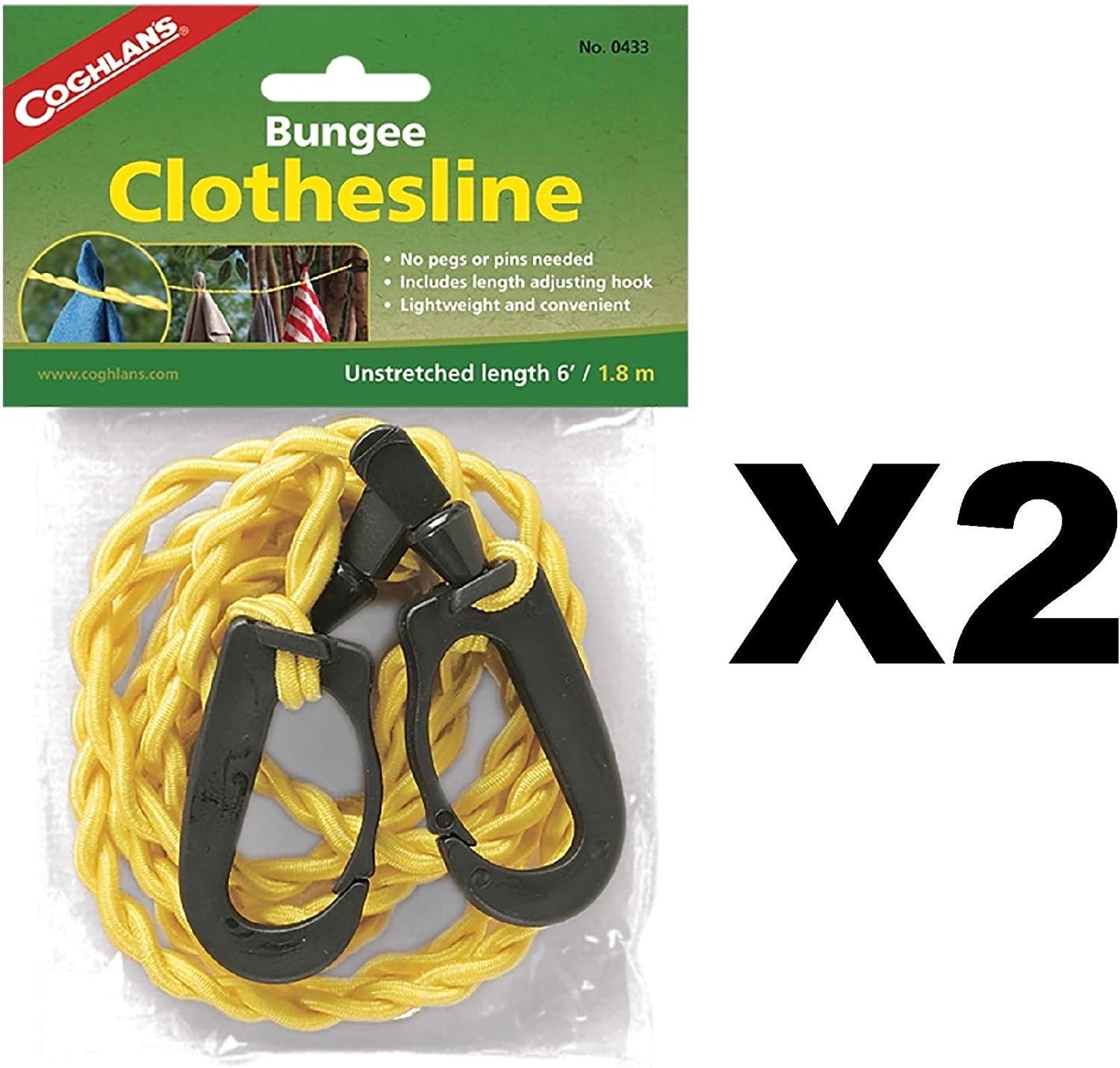 Coghlan's 0433 Adjustable Bungee Clothesline, length 6' (2 - Pack),Yellow