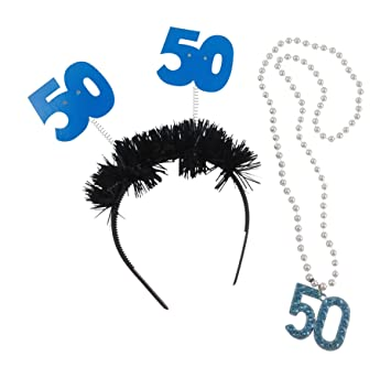 50th Birthday Party Accessories Bundle Includes Necklace And Light Up Boppers Headband