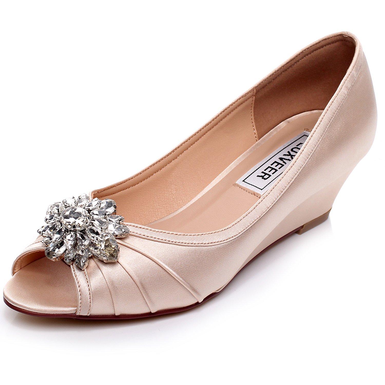 LUXVEER Low Heel Wedding Wedges - 2 inch 4.5cm B01M35XOYS 7 B(M) US|Champagne