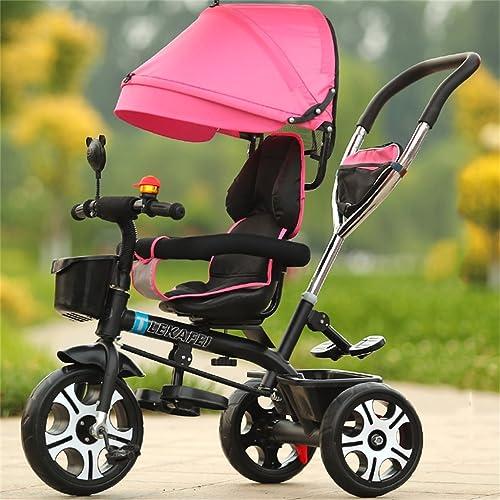 4-en-1 Enfant Tricycle Enfant Chariot Poignée Poignée Stoller Vélo avec Auvent Anti-UV Rose et Poignée Parent | pour 1-3-6 ans Garçon et Fille Bébé | Sièges rotatifs | R