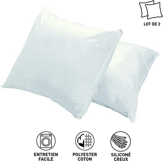 Blanrêve - Almohada de Entrada de Gama Lote, algodón, Blanco, 60 x ...