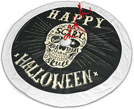 Amazon Com Throwpillow Christmas Tree Skirt Hand Drawn Happy Halloween Lettering With A Skull Trick Or Treat Be Scary Boo 30inch Tree Skirt With White Snowflakes For Christmas Holidays Decoration Home Kitchen