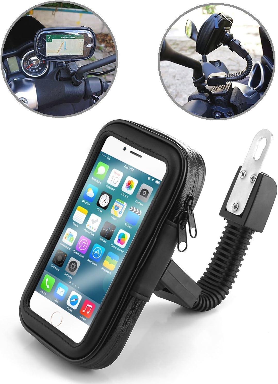 TecHERE BikeCase - Soporte Universal Movil Impermeable para Moto Motocicleta Scooter Escúter Vespa - Funda Teléfono Móvil para Apple iPhone Samsung Galaxy Navegador GPS - Negro (Gran)