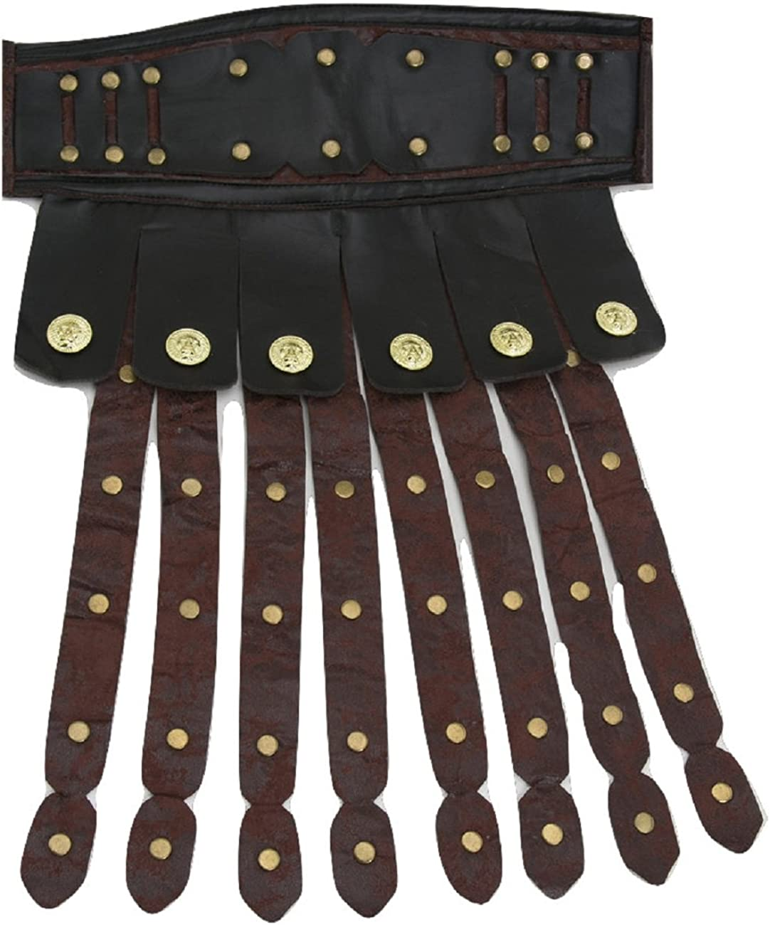 Brown Roman Gladiator Leather Effect Skirt and Armbands Mens Fancy Dress Costume