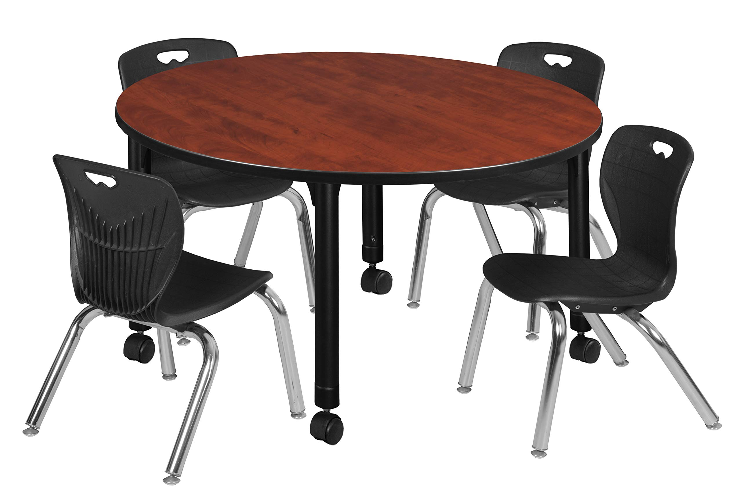 Regency TB48RNDCHAPCBK45BK Kee Height Adjustable Mobile Classroom Table Set with Four 12'' Andy Chairs 48'' Cherry/Black