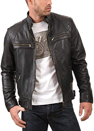 MEN/'S SWORD MOTORCYCLE BLACK REAL LEATHER BIKER JACKET 100/% Money Back Guarantee