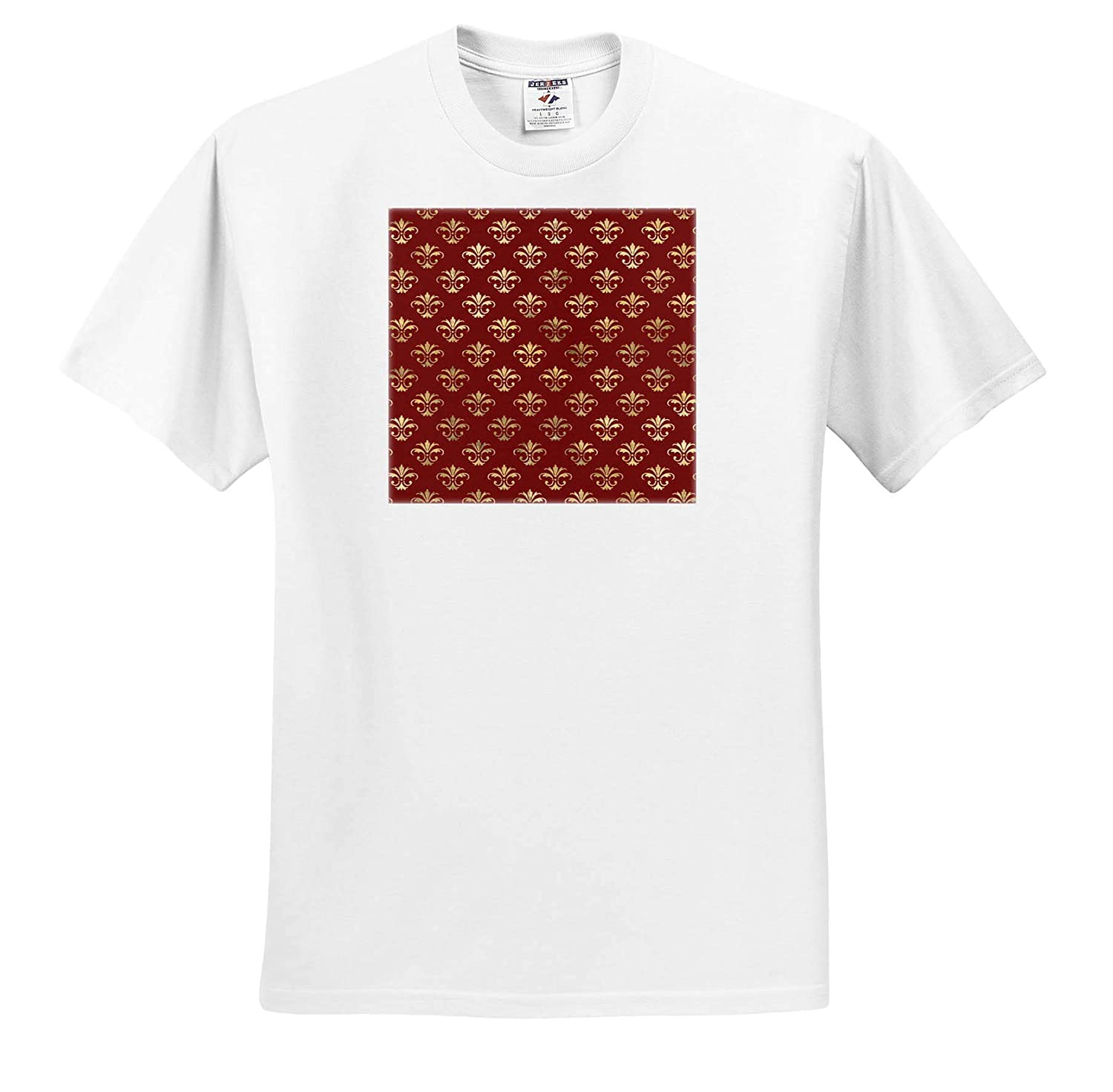 3dRose Anne Marie Baugh ts/_317638 Patterns Pretty Red and Image of Gold Ornamental Pattern Adult T-Shirt XL