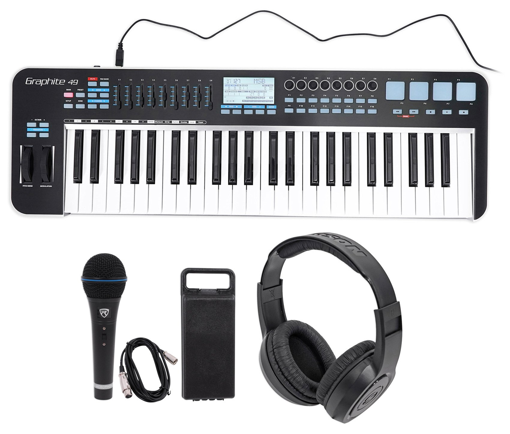 Samson Graphite 49 Key USB MIDI DJ Keyboard Controller+Headphones+Mic+Cable+Case