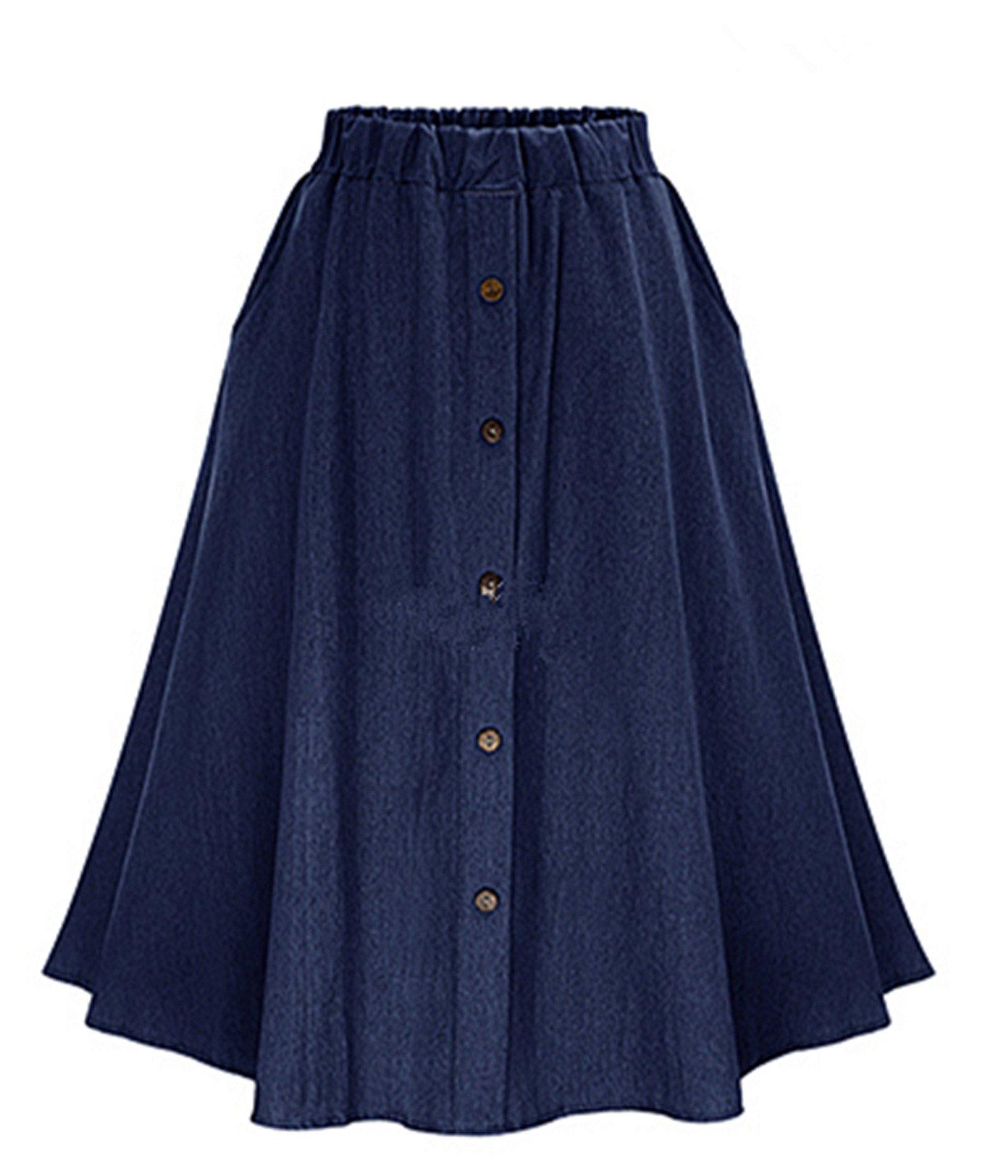 GALMINT Women's Elastic Waist A-Line Plus Size Knee Length Flared Skater Denim Skirt Blue