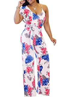 43a88b163f39 M.Brock Womens Jumpsuits Sexy Sleeveless Wide Leg Long Pants Jumpsuits  Rompers with Belt