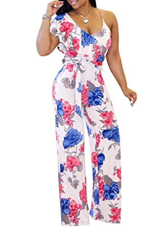 60171be207bbc M.Brock Womens Jumpsuits Sexy Sleeveless Wide Leg Long Pants Jumpsuits  Rompers with Belt