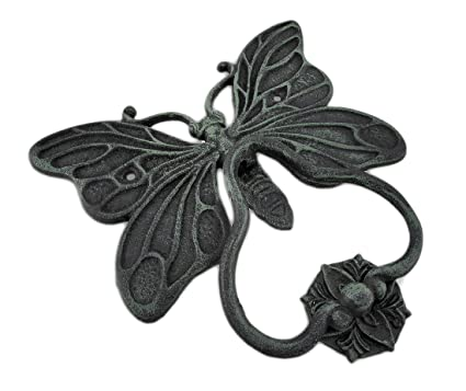 Attrayant Cast Iron Door Knockers Cast Iron Butterfly Door Knocker And Strike Plate  Verdigris Finish 9 X
