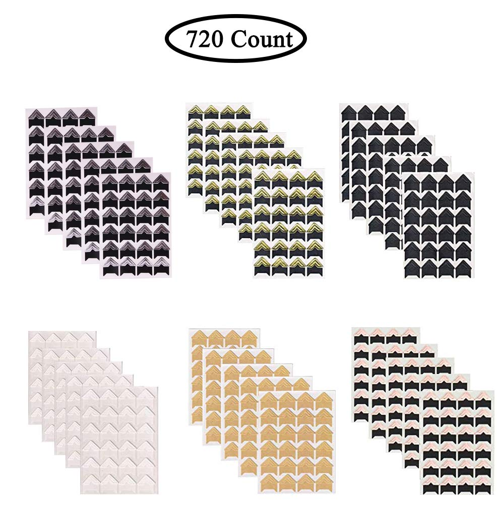 720 Count 30 Sheets Photo Corners Self Adhesive in 6 Colors, Frame Corners Photo Paper Sticker for DIY Scrapbook and Picture Album