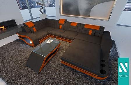 SOFA DESIGNER STOFFSOFA HERMES XL MIT LED BELEUCHTUNG NATIVO© Sofa Couch  Wohnlandschaft Wildlederoptik
