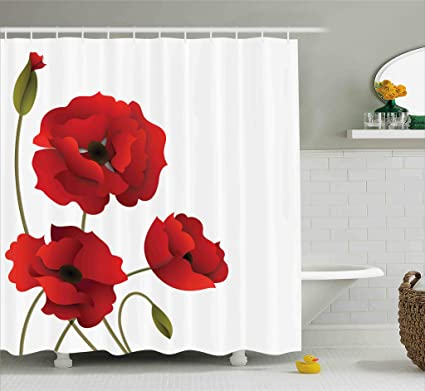 Ambesonne Floral Shower Curtain Poppy Flowers Bright Petals With Buds Pastoral Purity Mother Earth Nature