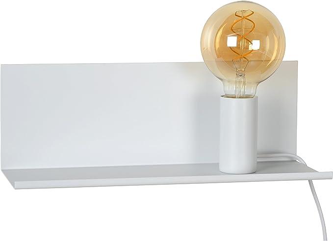 Lucide 062180131 Sebo Lampe de Chevet, Métal, E27, 40 W, Blanc, 35 x 12 x 12 cm