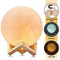 3D Luna Lampada LED, Uten Luce Lunare Notturna, 2 Colori e Toccare il Controllo, Dimmerabile con, 5.91 inch Stampata Lampada Luna, Moon Night Light, Ricarica USB