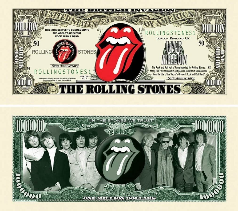FAKE  MONEY-0 25-Rolling Stones  Dollar Bills  Novelty Collectible