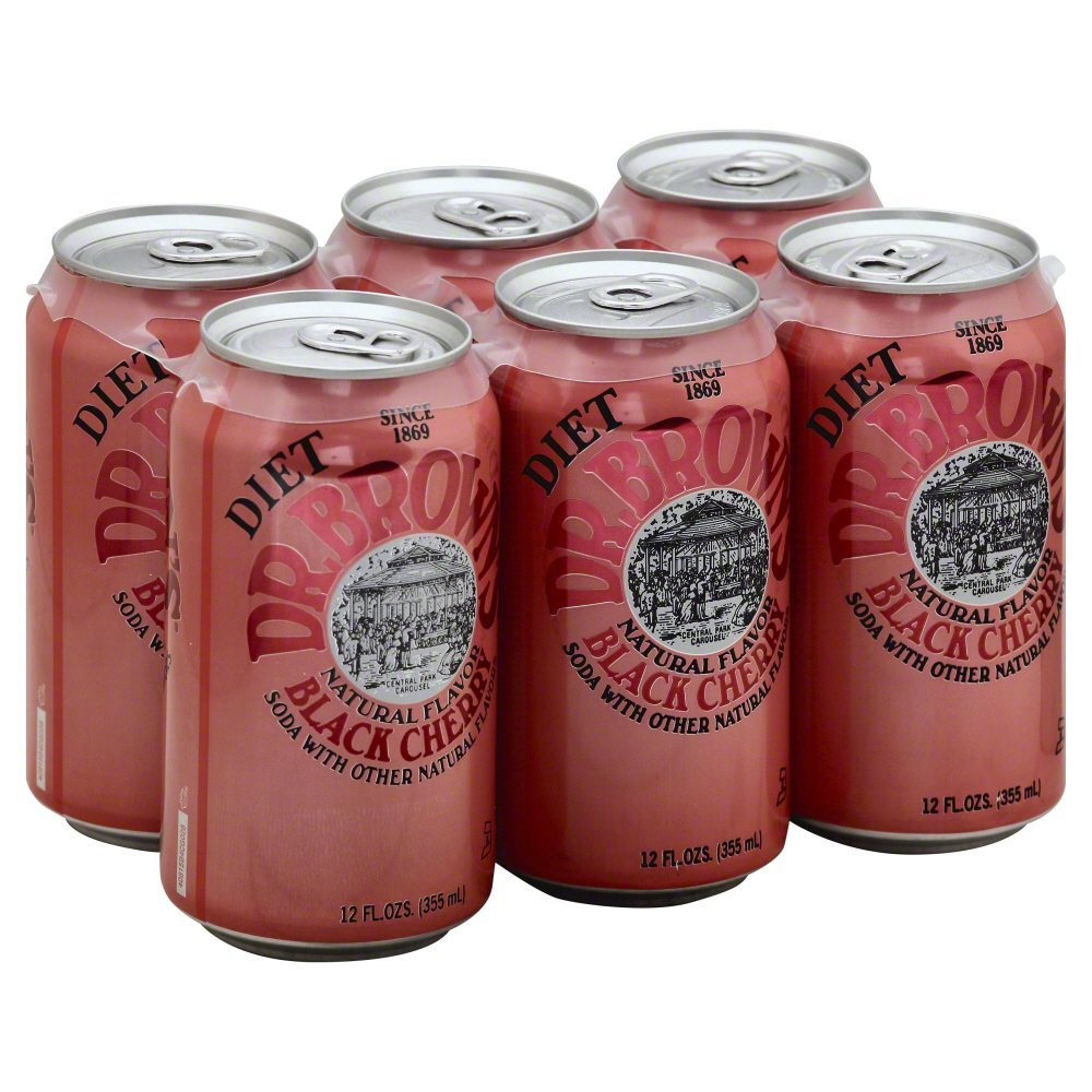 Dr. Brown Soda Black Cherry Diet, 12-ounces (Pack of4)
